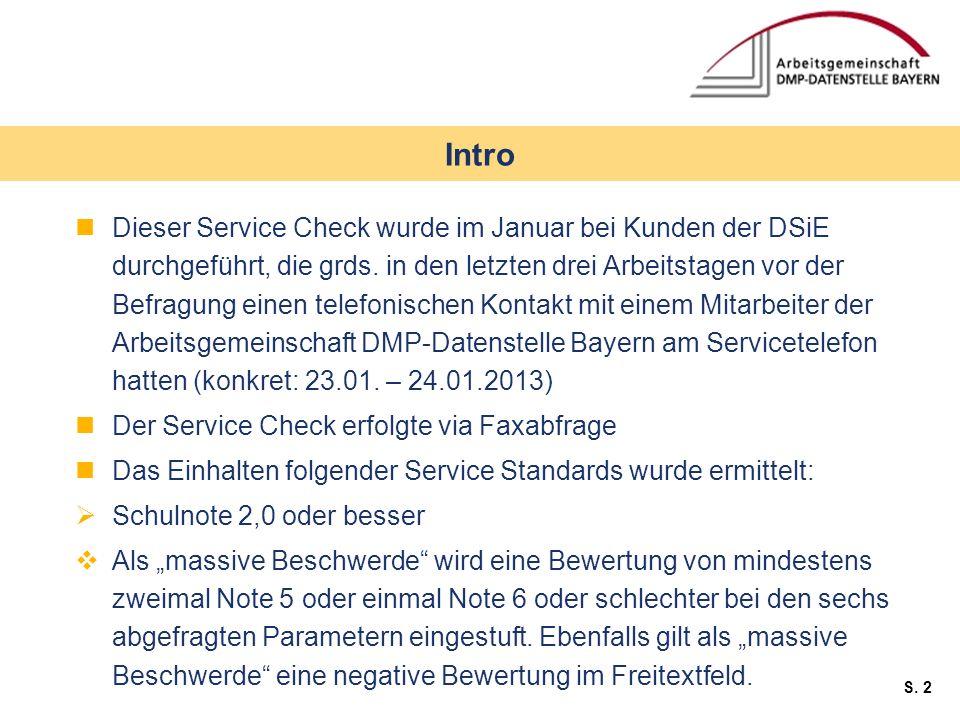 S. 2 Dieser Service Check wurde im Januar bei Kunden der DSiE durchgeführt, die grds. in den letzten drei Arbeitstagen vor der Befragung einen telefon