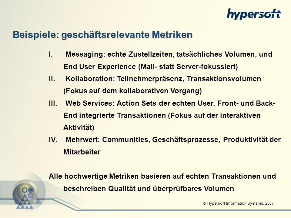 © Hypersoft Information Systems, 2007 Beispiele: geschäftsrelevante Metriken I. I. Messaging: echte Zustellzeiten, tatsächliches Volumen, und End User