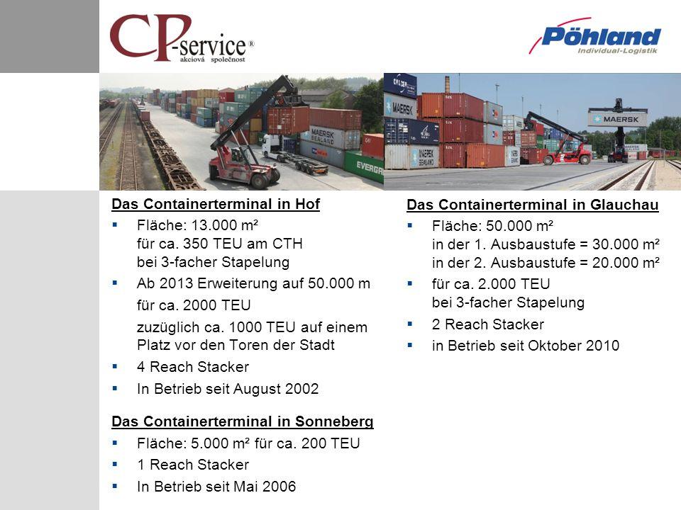 Das Containerterminal in Hof Fläche: 13.000 m² für ca. 350 TEU am CTH bei 3-facher Stapelung Ab 2013 Erweiterung auf 50.000 m für ca. 2000 TEU zuzügli