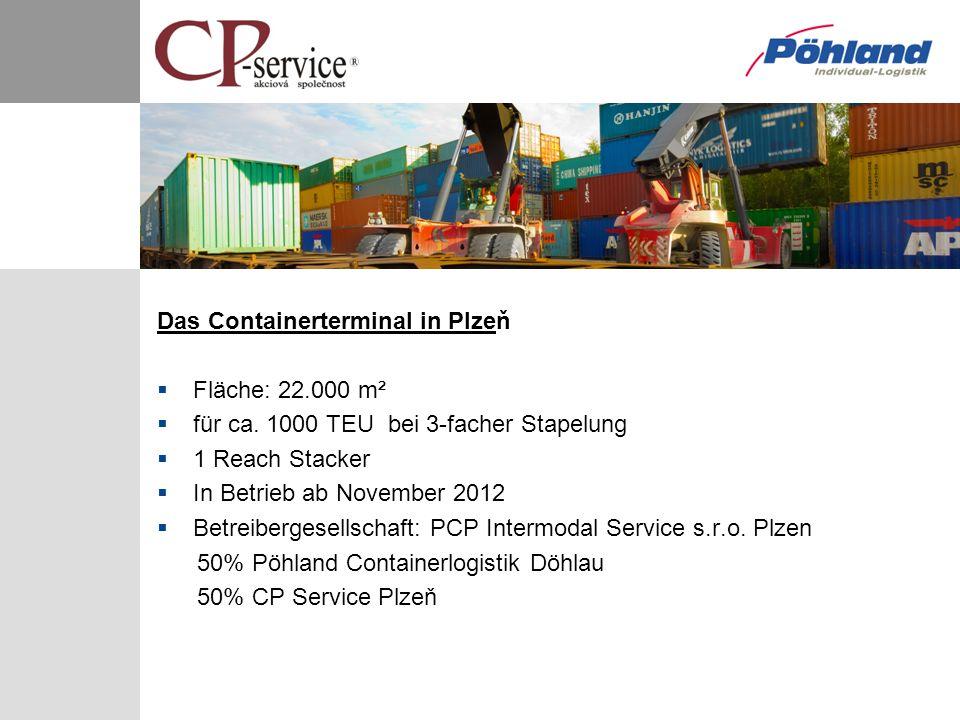 Das Containerterminal in Plzeň Fläche: 22.000 m² für ca. 1000 TEU bei 3-facher Stapelung 1 Reach Stacker In Betrieb ab November 2012 Betreibergesellsc