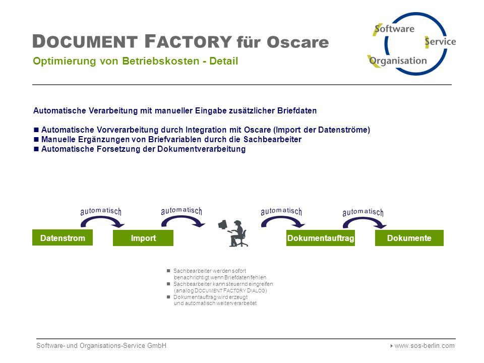 Software- und Organisations-Service GmbH www.sos-berlin.com D OCUMENT F ACTORY für Oscare Optimierung von Betriebskosten - Detail Datenstrom ImportDokumentauftragDokumente Sachbearbeiter werden sofort benachrichtigt wenn Briefdaten fehlen Sachbearbeiter kann steuernd eingreifen (analog D OCUMENT F ACTORY D IALOG ) Dokumentauftrag wird erzeugt und automatisch weiterverarbeitet Automatische Verarbeitung mit manueller Eingabe zusätzlicher Briefdaten Automatische Vorverarbeitung durch Integration mit Oscare (Import der Datenströme) Manuelle Ergänzungen von Briefvariablen durch die Sachbearbeiter Automatische Forsetzung der Dokumentverarbeitung