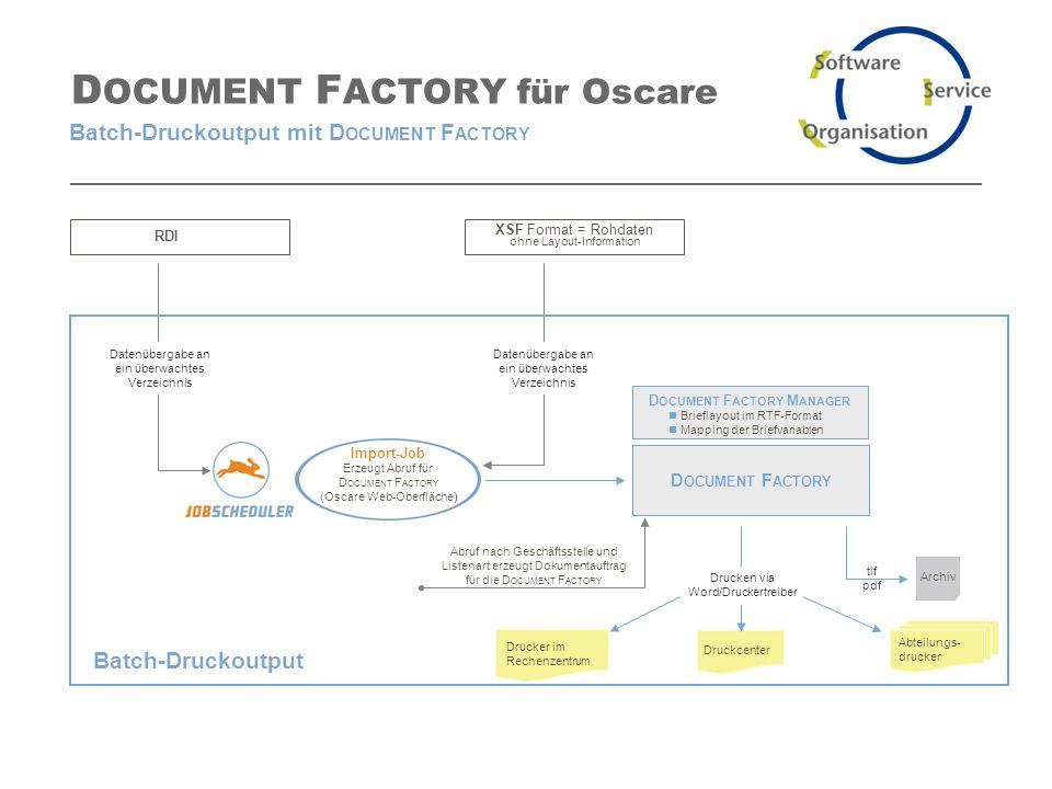Software- und Organisations-Service GmbH www.sos-berlin.com D OCUMENT F ACTORY für Oscare Batch-Druckoutput mit D OCUMENT F ACTORY XSF Format = Rohdaten ohne Layout-Information Import-Job Erzeugt Abruf für D OCUMENT F ACTORY (Oscare Web-Oberfläche) RDI Abruf nach Geschäftsstelle und Listenart erzeugt Dokumentauftrag für die D OCUMENT F ACTORY Datenübergabe an ein überwachtes Verzeichnis Abteilungs- drucker Druckcenter Drucker im Rechenzentrum D OCUMENT F ACTORY D OCUMENT F ACTORY M ANAGER Brieflayout im RTF-Format Mapping der Briefvariablen Drucken via Word/Druckertreiber Archiv Datenübergabe an ein überwachtes Verzeichnis Batch-Druckoutput tif pdf