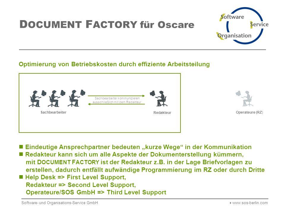 Software- und Organisations-Service GmbH www.sos-berlin.com Operateure (RZ) D OCUMENT F ACTORY für Oscare Optimierung von Betriebskosten durch effiziente Arbeitsteilung Redakteur Eindeutige Ansprechpartner bedeuten kurze Wege in der Kommunikation Redakteur kann sich um alle Aspekte der Dokumenterstellung kümmern, mit D OCUMENT F ACTORY ist der Redakteur z.B.