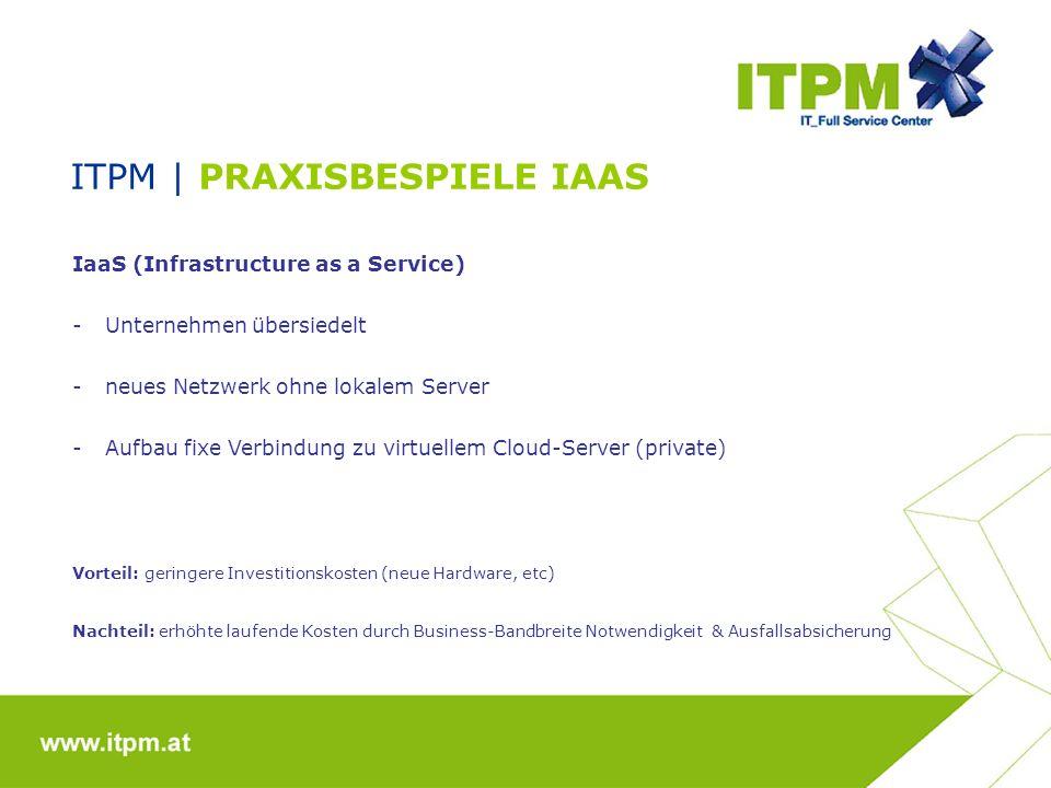 ITPM | PRAXISBESPIELE IAAS IaaS (Infrastructure as a Service) -Unternehmen übersiedelt -neues Netzwerk ohne lokalem Server -Aufbau fixe Verbindung zu