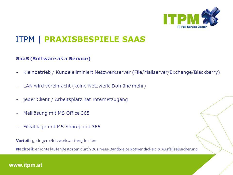 ITPM | PRAXISBESPIELE SAAS SaaS (Software as a Service) -Kleinbetrieb / Kunde eliminiert Netzwerkserver (File/Mailserver/Exchange/Blackberry) -LAN wird vereinfacht (keine Netzwerk-Domäne mehr) -jeder Client / Arbeitsplatz hat Internetzugang -Maillösung mit MS Office 365 -Fileablage mit MS Sharepoint 365 Vorteil: geringere Netzwerkwartungskosten Nachteil: erhöhte laufende Kosten durch Business-Bandbreite Notwendigkeit & Ausfallsabsicherung