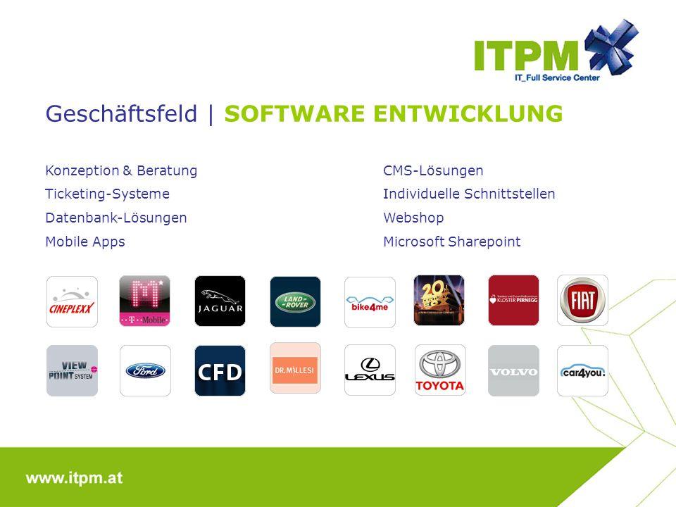 Geschäftsfeld | SOFTWARE ENTWICKLUNG Konzeption & BeratungCMS-Lösungen Ticketing-SystemeIndividuelle Schnittstellen Datenbank-LösungenWebshop Mobile AppsMicrosoft Sharepoint