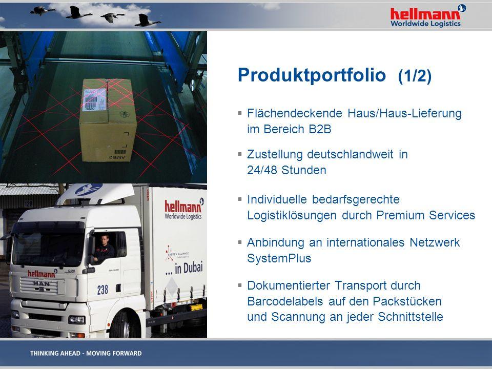 Produktportfolio (1/2) Flächendeckende Haus/Haus-Lieferung im Bereich B2B Zustellung deutschlandweit in 24/48 Stunden Individuelle bedarfsgerechte Log