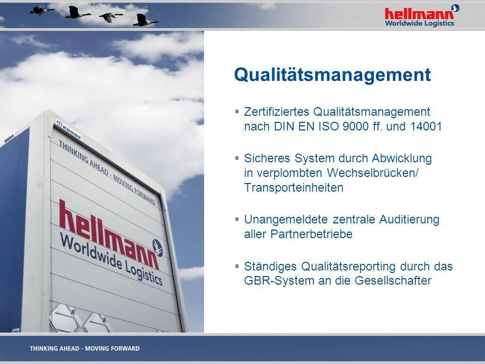 Qualitätsmanagement Zertifiziertes Qualitätsmanagement nach DIN EN ISO 9000 ff. und 14001 Sicheres System durch Abwicklung in verplombten Wechselbrück