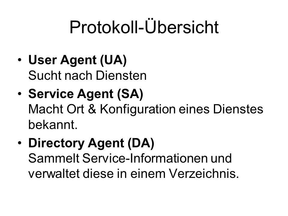 Protokoll-Übersicht User Agent (UA) Sucht nach Diensten Service Agent (SA) Macht Ort & Konfiguration eines Dienstes bekannt.
