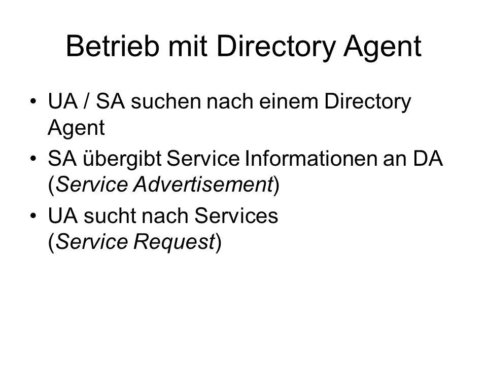 Betrieb mit Directory Agent UA / SA suchen nach einem Directory Agent SA übergibt Service Informationen an DA (Service Advertisement) UA sucht nach Services (Service Request)