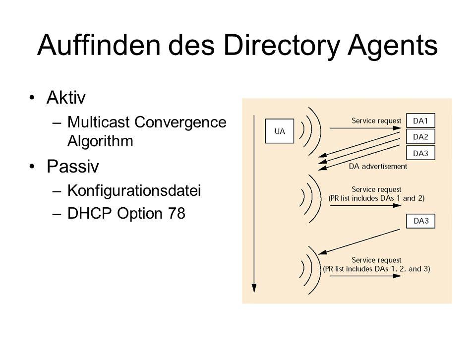 Auffinden des Directory Agents Aktiv –Multicast Convergence Algorithm Passiv –Konfigurationsdatei –DHCP Option 78