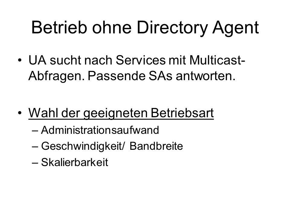 Betrieb ohne Directory Agent UA sucht nach Services mit Multicast- Abfragen.