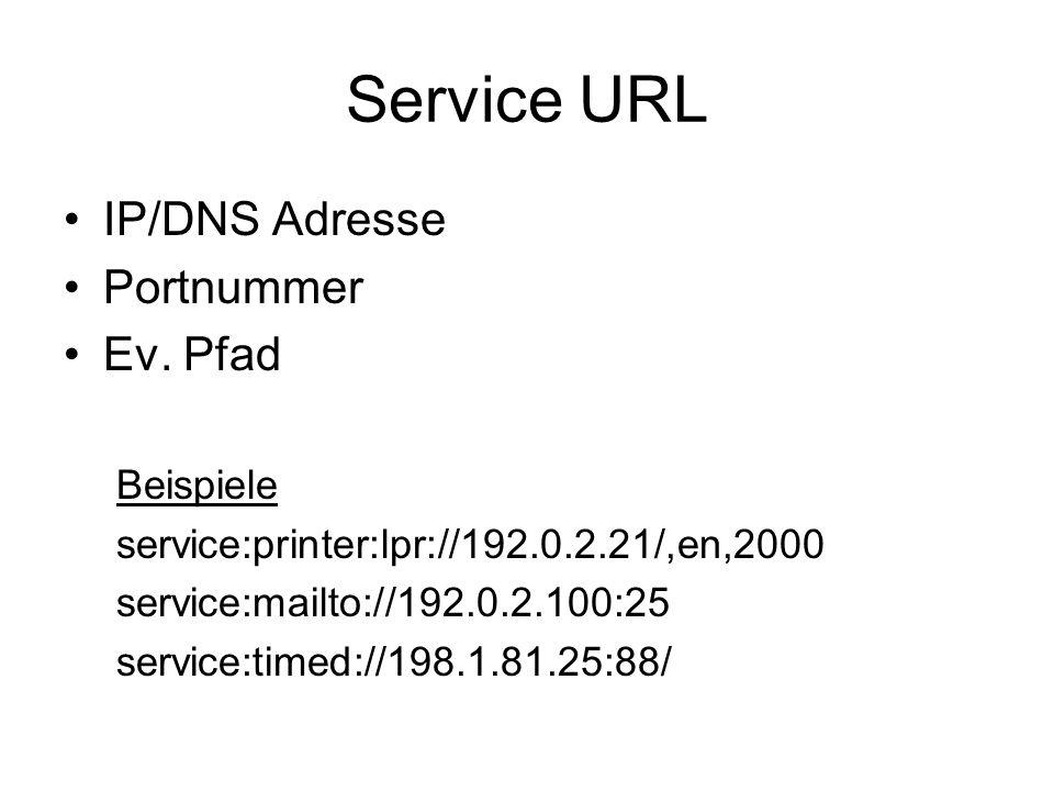 Service URL IP/DNS Adresse Portnummer Ev.