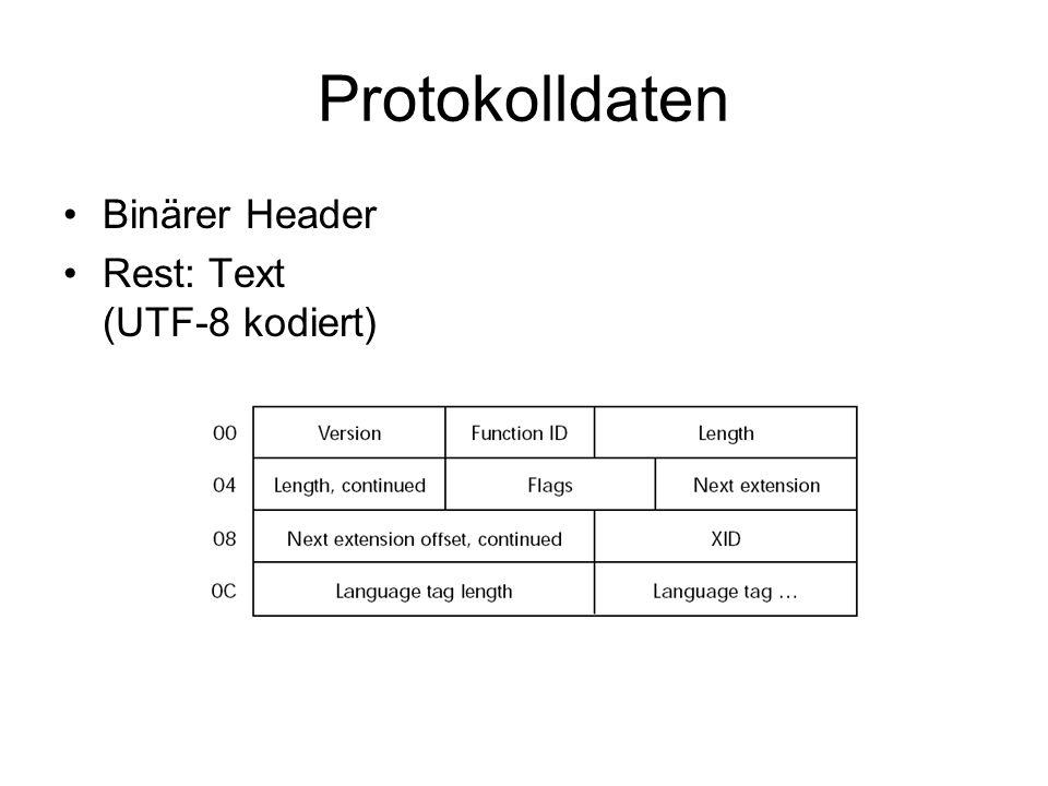 Protokolldaten Binärer Header Rest: Text (UTF-8 kodiert)