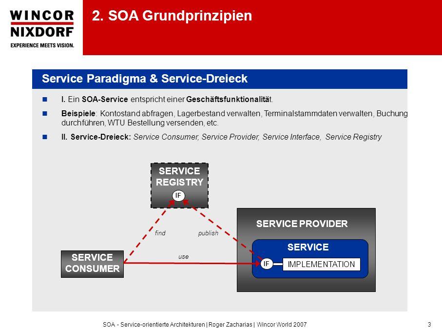 SOA - Service-orientierte Architekturen | Roger Zacharias | Wincor World 20073 I. Ein SOA-Service entspricht einer Geschäftsfunktionalität. Beispiele: