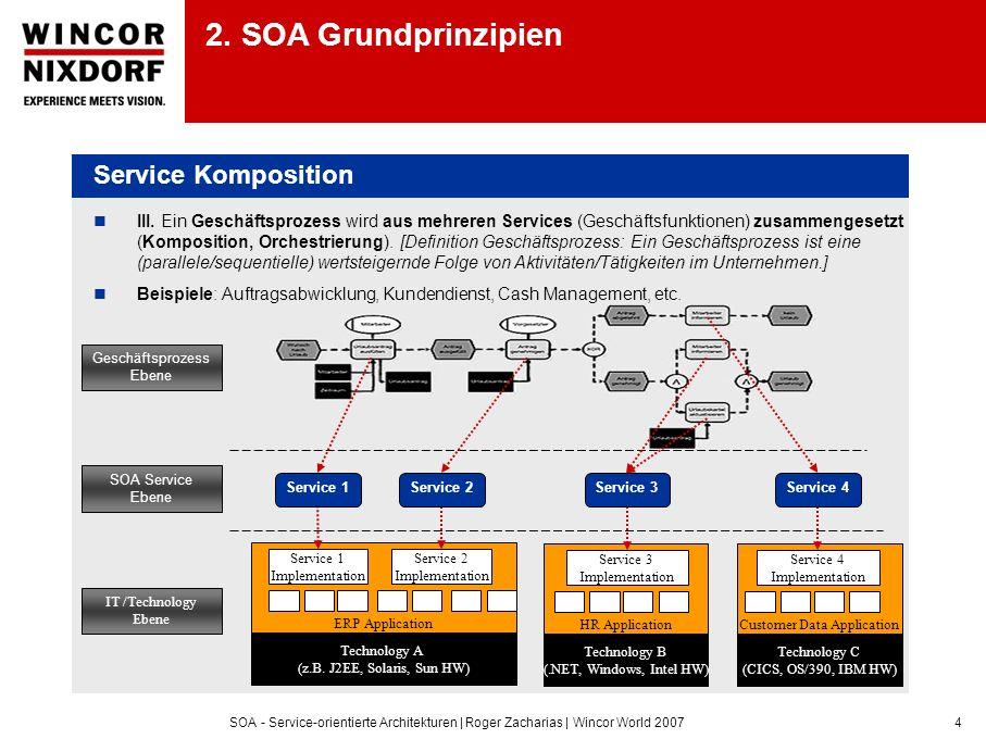 SOA - Service-orientierte Architekturen | Roger Zacharias | Wincor World 20074 III. Ein Geschäftsprozess wird aus mehreren Services (Geschäftsfunktion