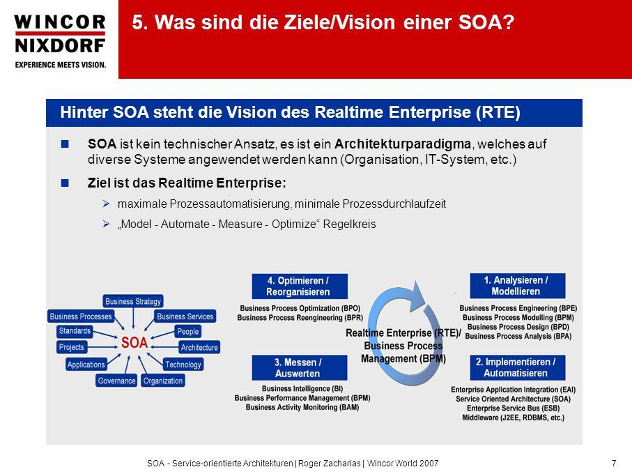 SOA - Service-orientierte Architekturen | Roger Zacharias | Wincor World 20077 5. Was sind die Ziele/Vision einer SOA? Hinter SOA steht die Vision des