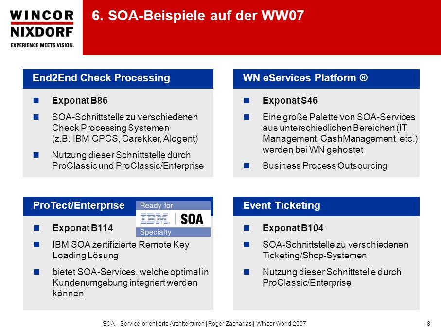 SOA - Service-orientierte Architekturen | Roger Zacharias | Wincor World 20078 6. SOA-Beispiele auf der WW07 End2End Check Processing Exponat B86 SOA-