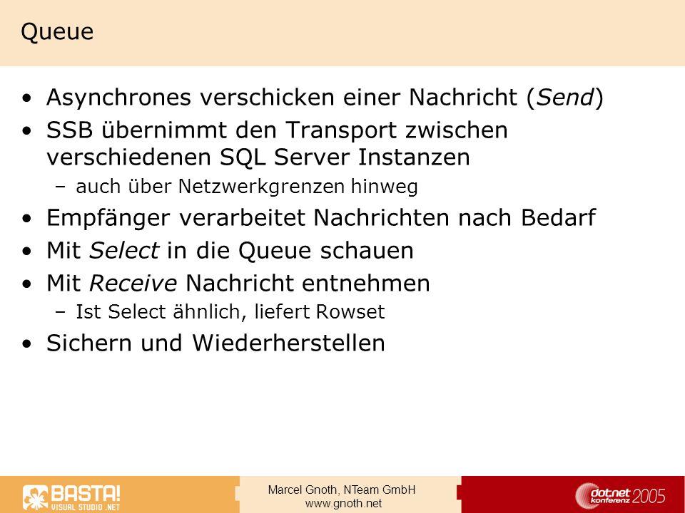 Marcel Gnoth, NTeam GmbH www.gnoth.net Queue Asynchrones verschicken einer Nachricht (Send) SSB übernimmt den Transport zwischen verschiedenen SQL Ser