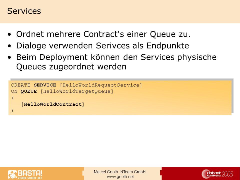 Marcel Gnoth, NTeam GmbH www.gnoth.net Services Ordnet mehrere Contracts einer Queue zu. Dialoge verwenden Serivces als Endpunkte Beim Deployment könn