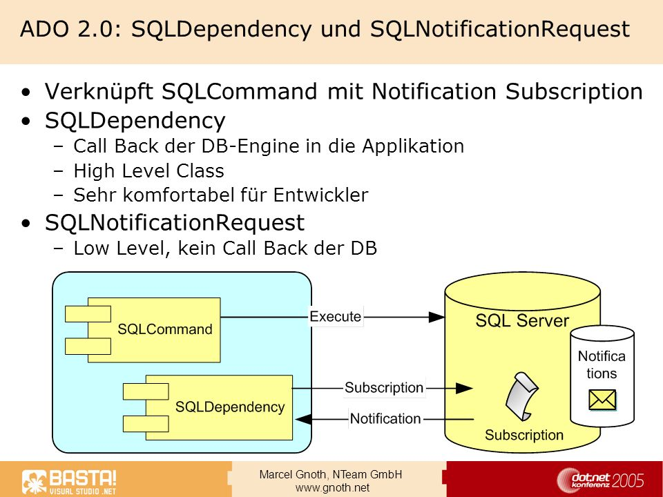 Marcel Gnoth, NTeam GmbH www.gnoth.net Query Notifications Anlegen der SSB Objekte + ADO.Net USE dbMittwoch ; CREATE QUEUE MittwochMessages ; CREATE SERVICE MittwochNotifications ON QUEUE MittwochMessages ([http://schemas.microsoft.com/SQL/Notifications/PostQueryNotification]) ; CREATE ROUTE MittwochMessagesRoute WITH SERVICE_NAME = MittwochNotifications , ADDRESS = LOCAL ; USE dbMittwoch ; CREATE QUEUE MittwochMessages ; CREATE SERVICE MittwochNotifications ON QUEUE MittwochMessages ([http://schemas.microsoft.com/SQL/Notifications/PostQueryNotification]) ; CREATE ROUTE MittwochMessagesRoute WITH SERVICE_NAME = MittwochNotifications , ADDRESS = LOCAL ; RECEIVE cast(message_body as nvarchar(MAX)) As TheMessage, * FROM MittwochMessages Dim m_SQLDep As SqlDependency sqlcmdQuery.CommandText = txtSelCommand.Text m_SQLDep = New SqlDependency(sqlcmdQuery) AddHandler m_SQLDep.OnChanged, _ New OnChangedEventHandler(AddressOf SqlDependency_OnChanged) Dim m_SQLDep As SqlDependency sqlcmdQuery.CommandText = txtSelCommand.Text m_SQLDep = New SqlDependency(sqlcmdQuery) AddHandler m_SQLDep.OnChanged, _ New OnChangedEventHandler(AddressOf SqlDependency_OnChanged)