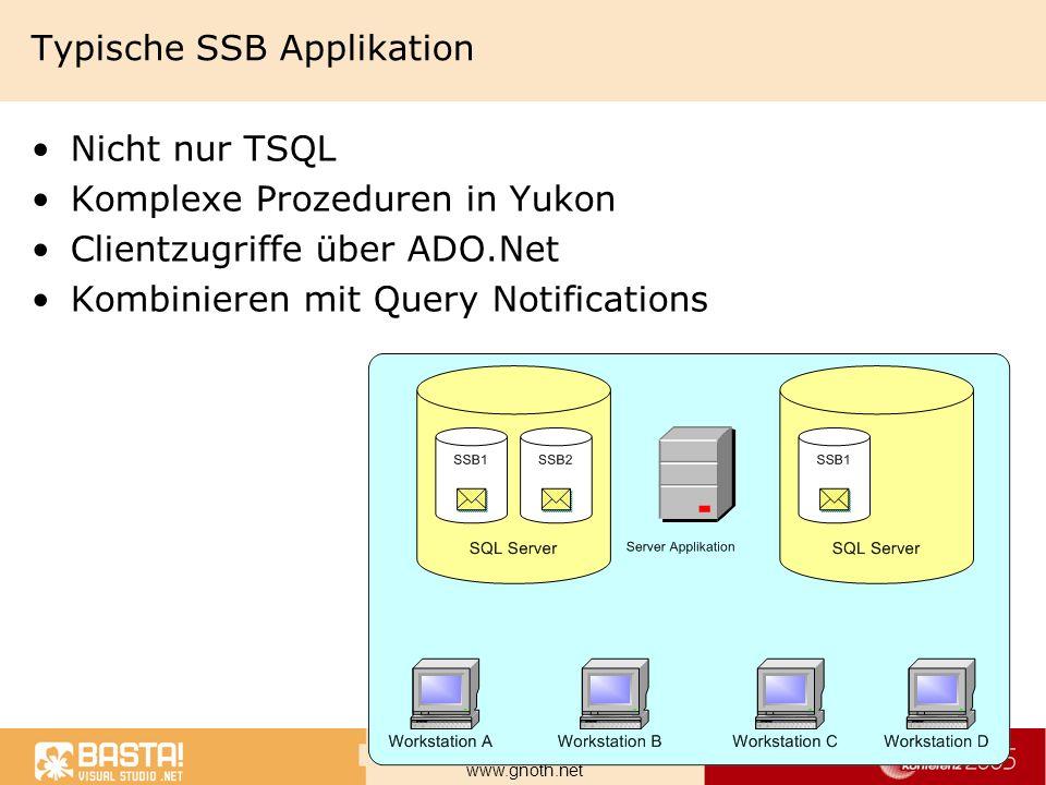 Marcel Gnoth, NTeam GmbH www.gnoth.net Typische SSB Applikation Nicht nur TSQL Komplexe Prozeduren in Yukon Clientzugriffe über ADO.Net Kombinieren mi