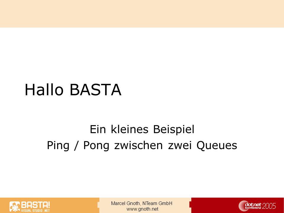 Marcel Gnoth, NTeam GmbH www.gnoth.net Hallo BASTA Ein kleines Beispiel Ping / Pong zwischen zwei Queues