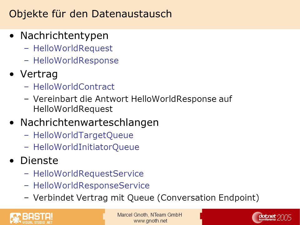 Marcel Gnoth, NTeam GmbH www.gnoth.net Objekte für den Datenaustausch Nachrichtentypen –HelloWorldRequest –HelloWorldResponse Vertrag –HelloWorldContr