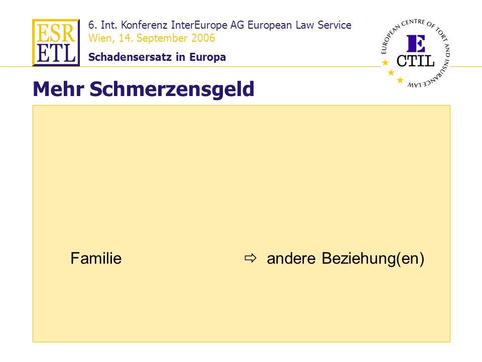 6. Int. Konferenz InterEurope AG European Law Service Wien, 14. September 2006 Schadensersatz in Europa 23 Familie Mehr Schmerzensgeld andere Beziehun