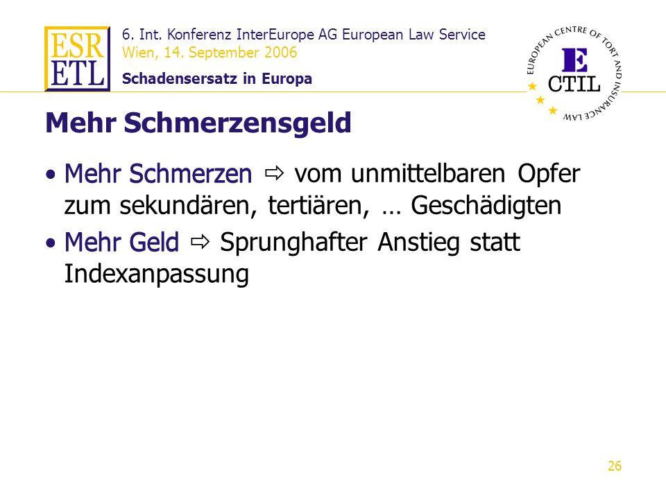 6. Int. Konferenz InterEurope AG European Law Service Wien, 14. September 2006 Schadensersatz in Europa 26 Mehr Schmerzen vom unmittelbaren Opfer zum