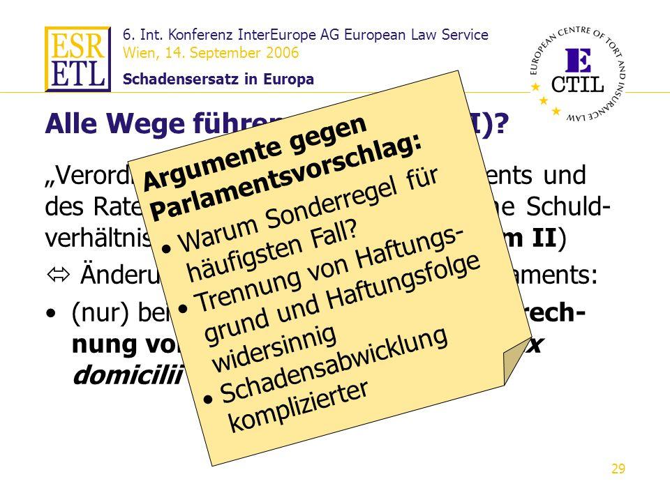 6. Int. Konferenz InterEurope AG European Law Service Wien, 14. September 2006 Schadensersatz in Europa 29 Alle Wege führen nach Rom (II)? Verordnung