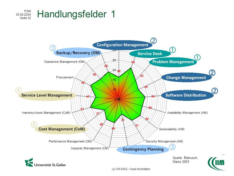 ITSM 30.06.2004 Seite 32 (c) IWI-HSG / Axel Hochstein Handlungsfelder 1 Quelle: Blahusch, Mainz 2003