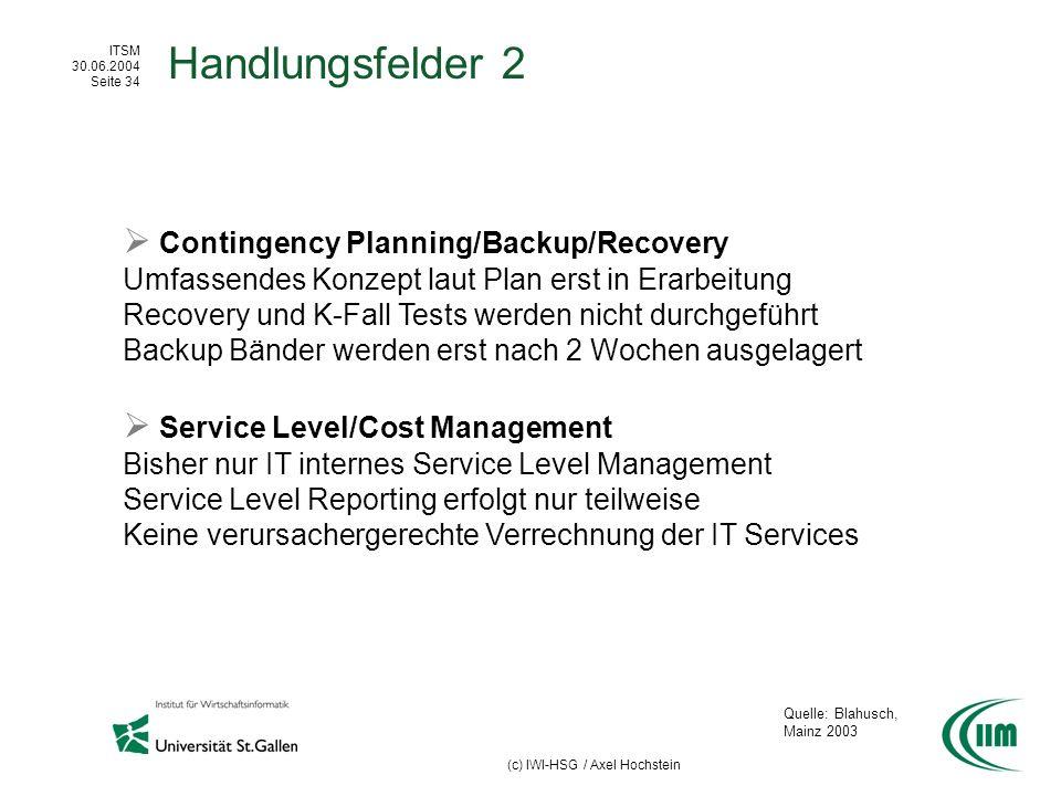 ITSM 30.06.2004 Seite 34 (c) IWI-HSG / Axel Hochstein Handlungsfelder 2 Contingency Planning/Backup/Recovery Umfassendes Konzept laut Plan erst in Era