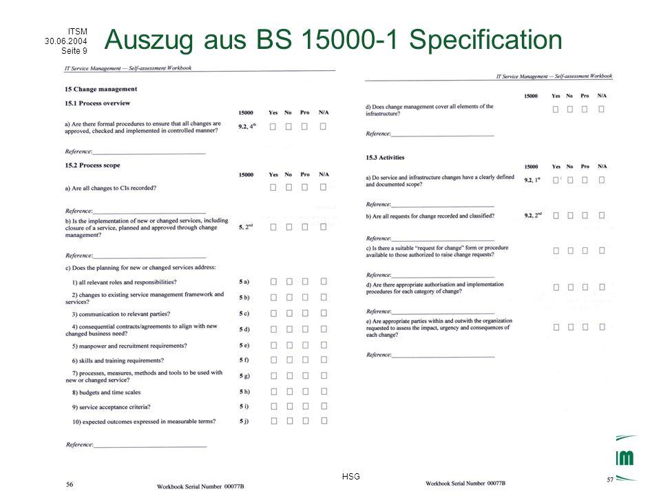 ITSM 30.06.2004 Seite 10 (c) IWI-HSG / Axel Hochstein Initiatoren IT Service Management Initiativen Best Practice Übersicht IT Service Management Initiativen IT Infrastructure Library BSI Zertifizierung (ITSM) BS 15000 IT Revision Cobit ISACA ITSMF (ca.