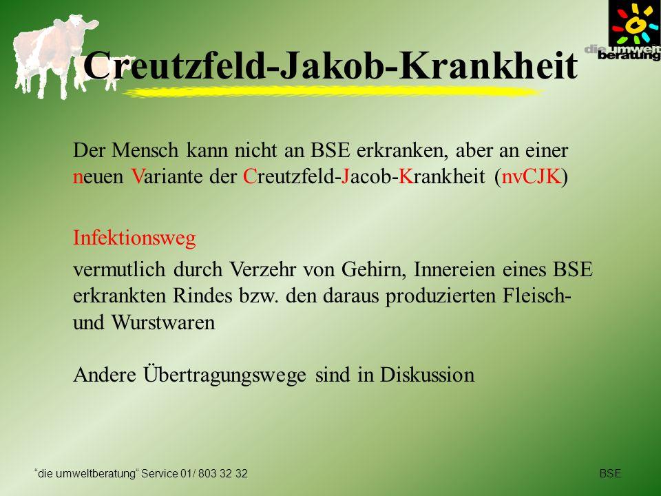 BSEdie umweltberatung Service 01/ 803 32 32 Creutzfeld-Jakob-Krankheit Der Mensch kann nicht an BSE erkranken, aber an einer neuen Variante der Creutz