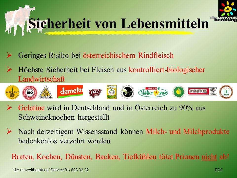 BSEdie umweltberatung Service 01/ 803 32 32 Sicherheit von Lebensmitteln Geringes Risiko bei österreichischem Rindfleisch Höchste Sicherheit bei Fleis