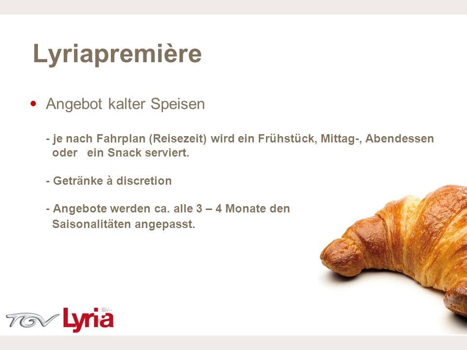 16/02/09 P11 Angebot kalter Speisen - je nach Fahrplan (Reisezeit) wird ein Frühstück, Mittag-, Abendessen oder ein Snack serviert. - Getränke à discr