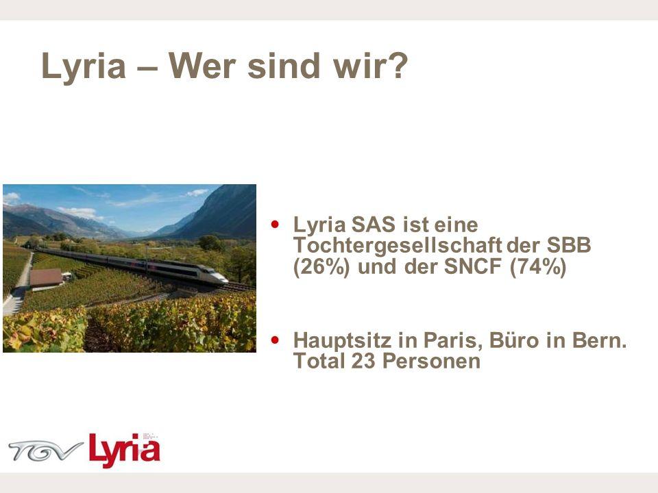 16/02/09 P2 Lyria SAS ist eine Tochtergesellschaft der SBB (26%) und der SNCF (74%) Hauptsitz in Paris, Büro in Bern. Total 23 Personen Lyria – Wer si