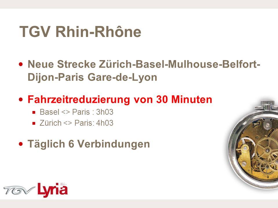 16/02/09 P6 TGV Rhin-Rhône Neue Strecke Zürich-Basel-Mulhouse-Belfort- Dijon-Paris Gare-de-Lyon Fahrzeitreduzierung von 30 Minuten Basel <> Paris : 3h