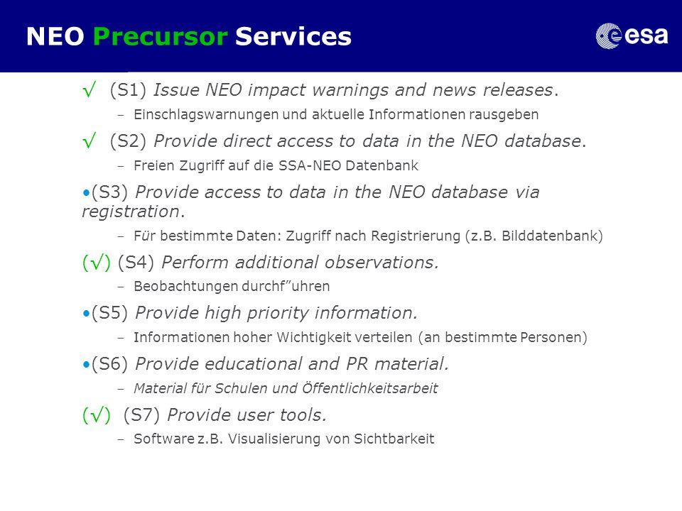 SSA-NEO web portal prototype Consortium work to build up precursor services: Telespazio (I) Deimos (E) Astos (D) Serco (UK) Support by Uni Pisa (I) INAF Rome (I) DLR Berlin (D)