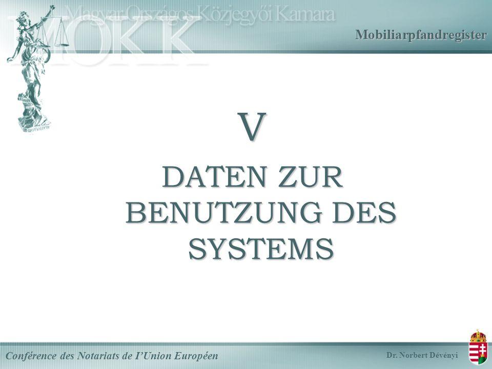 Mobiliarpfandregister V DATEN ZUR BENUTZUNG DES SYSTEMS Conférence des Notariats de IUnion Européen Dr.
