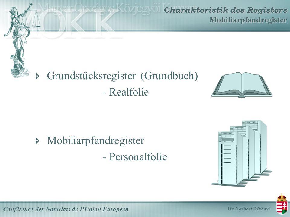 Grundstücksregister (Grundbuch) - Realfolie Mobiliarpfandregister - Personalfolie Conférence des Notariats de IUnion Européen Dr.
