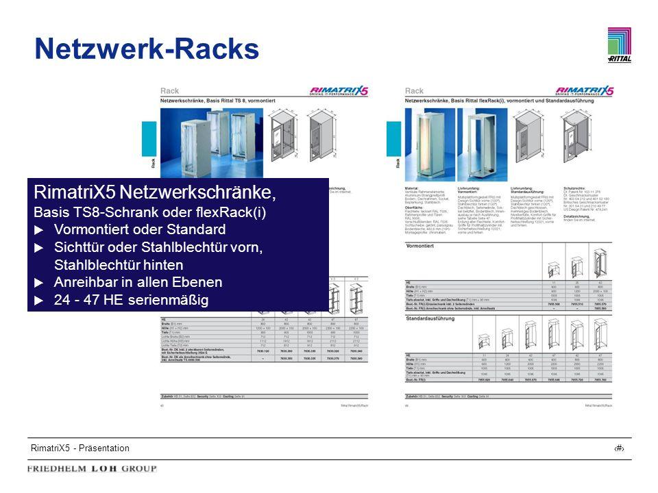 RimatriX5 - Präsentation10 Netzwerk-Racks RimatriX5 Netzwerkschränke, Basis TS8-Schrank oder flexRack(i) Vormontiert oder Standard Sichttür oder Stahl