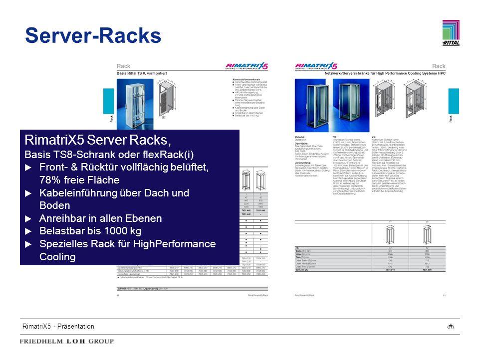 RimatriX5 - Präsentation11 Server-Racks RimatriX5 Server Racks, Basis TS8-Schrank oder flexRack(i) Front- & Rücktür vollflächig belüftet, 78% freie Fl