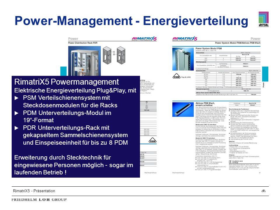 RimatriX5 - Präsentation14 Power-Management - Energieverteilung RimatriX5 Powermanagement Elektrische Energieverteilung Plug&Play, mit PSM Verteilschi