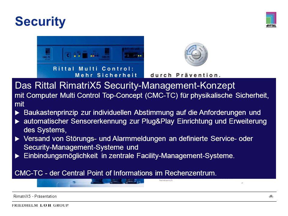 RimatriX5 - Präsentation20 Security Das Rittal RimatriX5 Security-Management-Konzept mit Computer Multi Control Top-Concept (CMC-TC) für physikalische