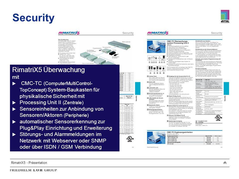 RimatriX5 - Präsentation21 Security RimatriX5 Überwachung mit CMC-TC (ComputerMultiControl- TopConcept) System-Baukasten für physikalische Sicherheit