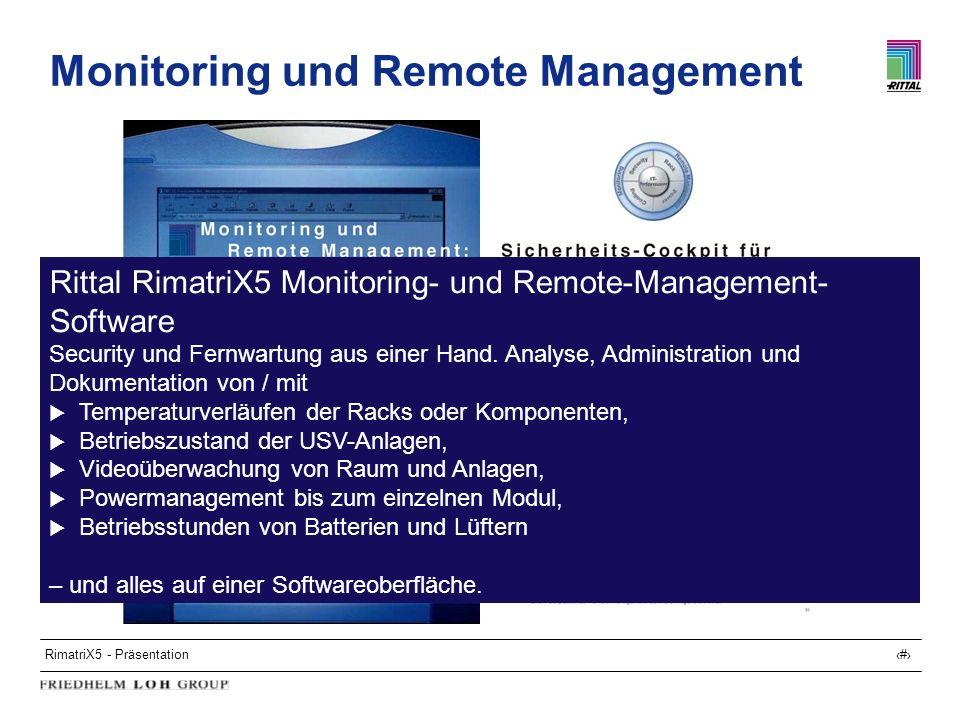 RimatriX5 - Präsentation23 Monitoring und Remote Management Rittal RimatriX5 Monitoring- und Remote-Management- Software Security und Fernwartung aus