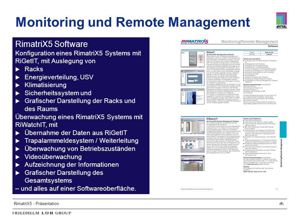 RimatriX5 - Präsentation24 Monitoring und Remote Management RimatriX5 Software Konfiguration eines RimatriX5 Systems mit RiGetIT, mit Auslegung von Ra