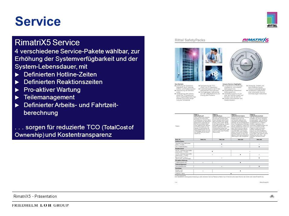 RimatriX5 - Präsentation32 Service RimatriX5 Service 4 verschiedene Service-Pakete wählbar, zur Erhöhung der Systemverfügbarkeit und der System-Lebens